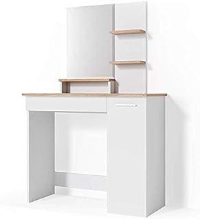 Commode de la chambre dangle Coiffeuse avec tiroirs et meubles tabouret 109 140cm,White 55