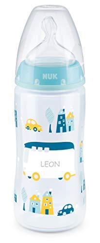 NUK First Choice Babyflasche mit persönlicher Gravur, kiefergerechter Silikon-Trinksauger, 300ml, 6-18 Monate, blau