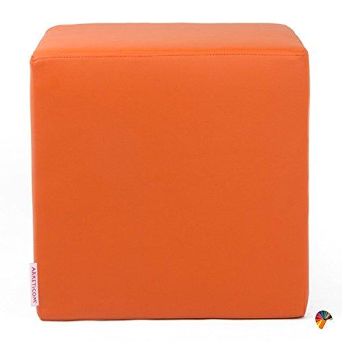 Arketicom Dado Pouf Poggiapiedi CUBO Ecopelle Sfoderabile Puff Arancione 35 cm