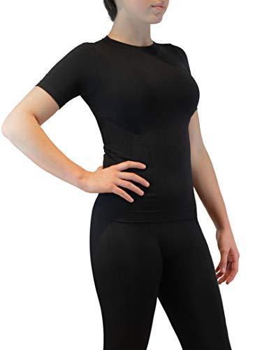 FarmaMed Ecodrytech Camiseta Mujer, Camiseta Manga Corta Transpirable, Oficina, Deporte, Relajamiento, Tecnología...