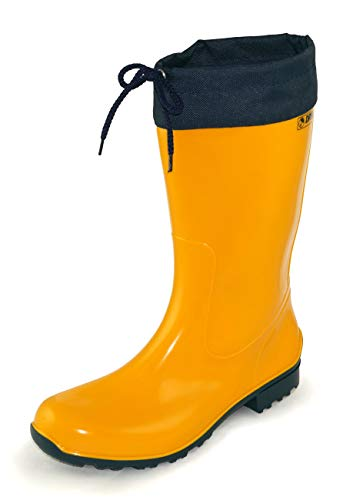 Regenliebe Damen Gummistiefel de Fieselregen Regenstiefel Langschaft, Farbe:gelb, Größe:42 EU