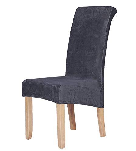 Homaxy Velvet Stretch Esszimmerstuhl Hussen - Spandex Plüsch Stuhlhussen Solide Großes Esszimmer Stuhl Protector Home Decor Set 6, Dunkelgrau