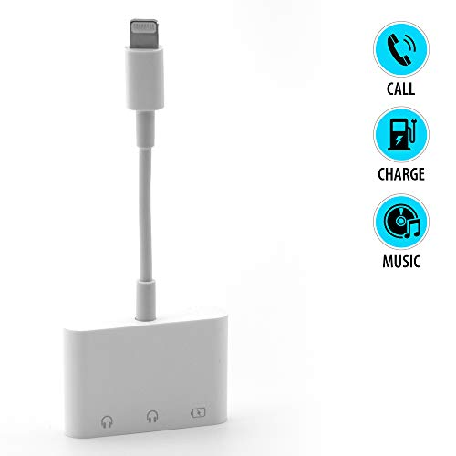 Lighting to 3.5mm Headphone Jack Adapter (3 in 1) AUX Dual Audio,iPhone Splitter Jack and Charging Support for iPhone 11/XS/XS Max/XR/X/7/7 Plus/8/8 Plus, iPad, | White