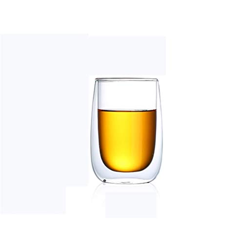 ZMK-720 Gläser Kaffee-Tee-Milch-Glas-Doppel Transparente Glas Wasser-Glas Bier Cocktail Stemless Glass #S888 (Color : 80ML tumblers)