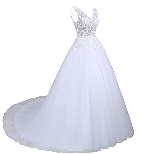 Romantic-Fashion Brautkleid Hochzeitskleid Weiß Modell W142 A-Linie Stickerei Satin Organza DE Größe 46