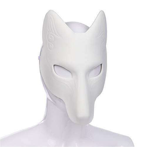 Amosfun Halloween Fuchs Maske Kostüm DIY Leere Maske Japanisch Kabuki Kitsune Masken für Halloween Maskerade Kostüm Requisite