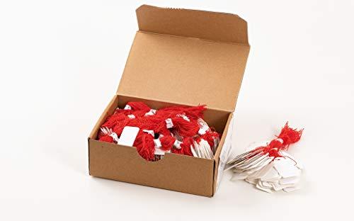 HERMA 6915 Hängeetiketten mit rotem Faden (25 x 38 mm, groß, Fadenlänge ca. 8 cm) Anhängeschilder aus Karton zum Beschriften, 1.000 Preisetiketten, weiß