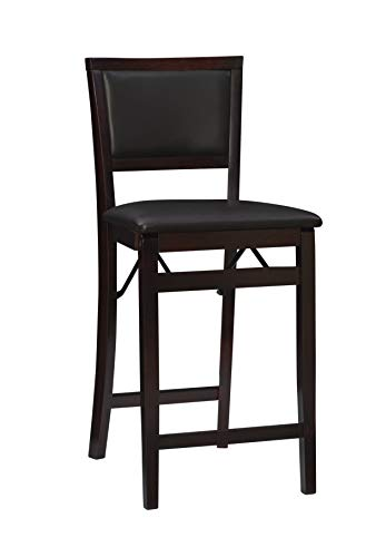 Linon Keira Folding Counter Stool, Espresso, 24″ Seat Height, Assembled 2 Pack