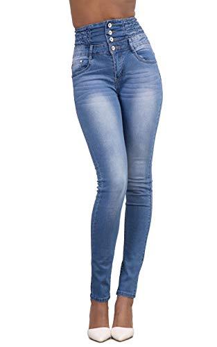 Yidarton Jeans für Damen Vintage Lässige Dünn Denim Strecken Schlank Hochbund Knopfleiste Jeanshose Röhrenjeans Push Up Hose (Hellblau, L)