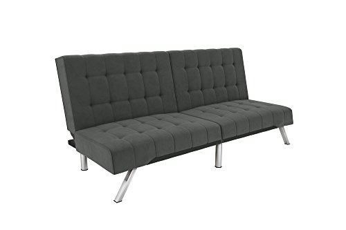 DHP Emily Futon With Chrome Legs, Grey Velvet