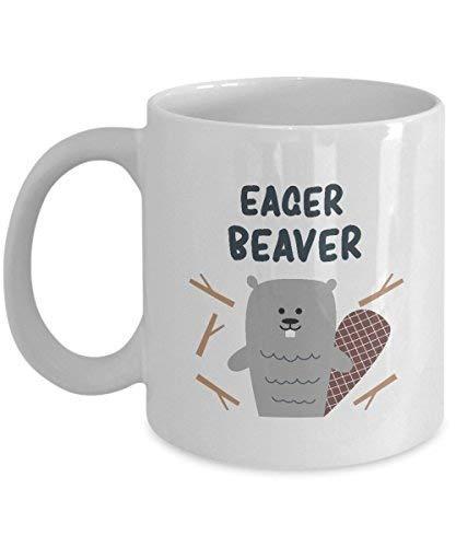 Queen54ferna Gifts For Beaver Fanatics: Beaver Beaver, Beaver Dam, Semiacuático roedor, animal, taza de café novedad, taza de té de cerámica blanca, 11 oz