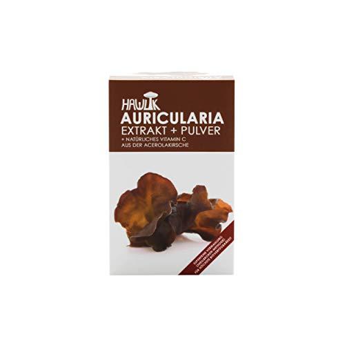 Hawlik Vitalpilze - Auricularia Extrakt + Pulver - 120 Kapseln - 250mg Vitalpilz Extrakt - 150mg Pilzpulver - 8,5mg natürliches Vitamin C - GMP Qualität