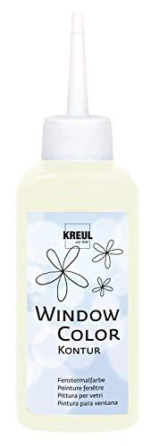 Kreul 42746 - Window Color Konturenfarbe nachtleuchtend gelb, 80 ml Malflasche, zur besseren Abgrenzung von Motiven, für glatte Oberflächen wie Glas, Spiegel und Fliesen