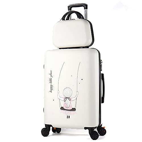 SGCDKSP Carro de la Maleta Carry On Hand Cabin Equipaje, Boy Girl Trolley Caja de contraseña,White 1,24 Inches