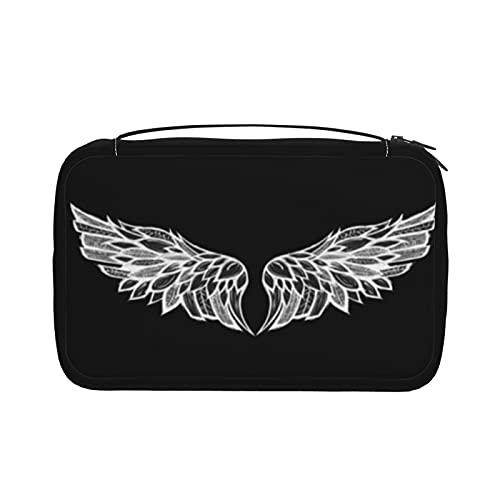 Trousse de toilette noire et blanche en forme d'ailes d'ange pour femme - Trousse de maquillage pliable avec crochet de suspension