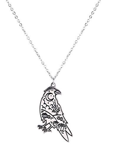 Likgreat Halskette mit Anhänger aus Edelstahl, Halloween, Gothic, Wald, Rabe, Mond, Nacht, Kürbis-Laterne, lebendiger Vogel, Schmuck für Männer und Frauen