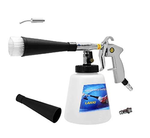 Autoinnenreinigungsset Schaumdüse Innenreiniger Waschpistole Sprühpistole Drucklutfpistole mit Bürste(EU Adapter)