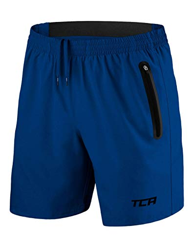 TCA Elite Tech Herren Trainingsshorts für Laufsport mit Reißverschlusstaschen - Blau - L