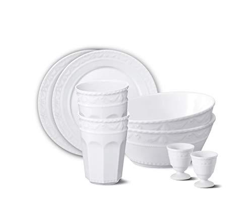 KURLAND Starter-Set Porzellan 8-teilig von KPM Berlin - Porzellan-Set - Teller-Set - handgemacht & als Geschenk verpackt - Weiß