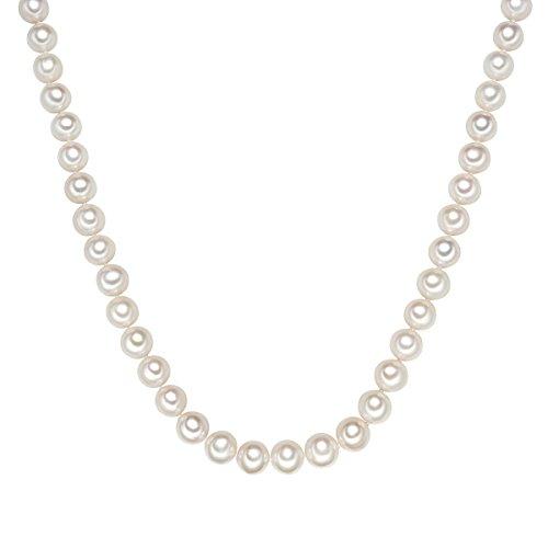 Valero Pearls Damen-Kette Hochwertige Süßwasser-Zuchtperlen in ca. 10 mm Rund weiß 925 Sterling Silber in verschiedenen Länge - Perlenkette Halskette mit echten Perlen weiss 60201643