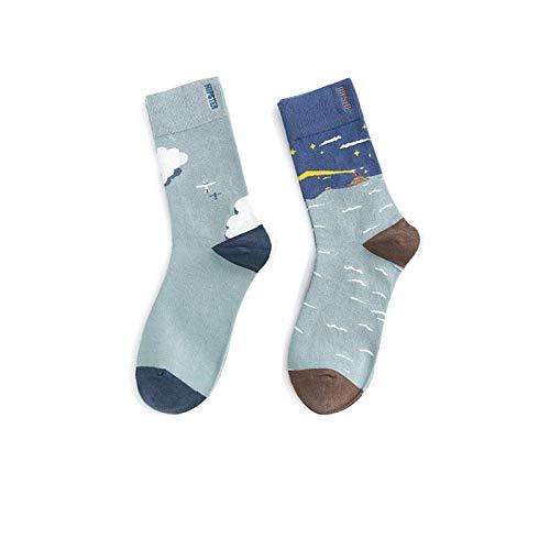 Nieuwigheid Sokken,3 paar lente en zomer blauwe sokken mode minimalistische asymmetrische vliegtuig patroon katoen ademende comfortabele buis mannelijke en vrouwelijke sokken paar katoen sokken gepersonaliseerde kleding Acc