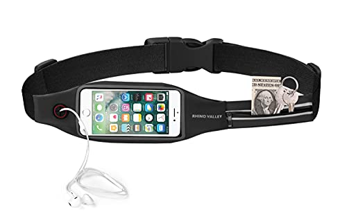 Rhino Valley Running Belt Waist Pack, Sports Fanny Pack Fitness Workout Belt, Water Resistant Dual Pockets with Clear Touch Screen Compatible with iPhone 12/12 Pro,iPhone 11 Pro Max/X/Xr, Galaxy S21