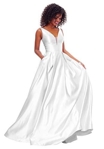 Zhongde Damen V-Ausschnitt offener Rücken Perlen Satin Ballkleid Lang Hochzeit Brautkleid mit Taschen Weiß Größe 4