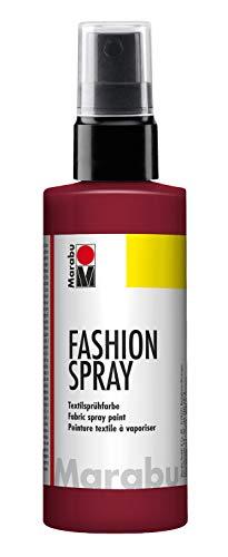 Marabu 17190050034 - Fashion Spray bordeaux 100 ml, Textilsprühfarbe, m. Pumpzerstäuber, für helle Textilien, weicher Griff, einfache Fixierung, waschbeständig bis 40°C, tolle Effekte auf Stoff