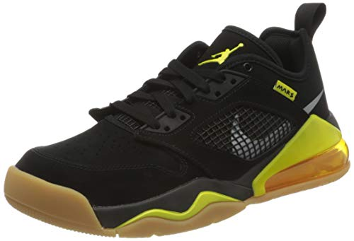 Nike Herren Jordan Mars 270 Low Basketballschuh, Black/metallic Silver-Dynamic Yellow, 41 EU