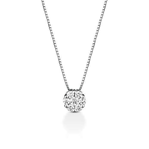 Collana catenina donna ragazza punto luce magic oro bianco 18kt 750 con diamanti naturali 0,14CT F VVS Regali importanti Collana più venduta oro e diamanti Made in italy