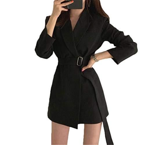 wkd-thvb Blazer Mujeres Otoño Casual Color Sólido Manga Larga Cinturón Slim Blazer Vestido Chaqueta Traje
