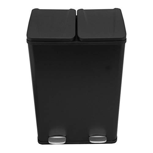 MonsterShop Cubo de Basura con Pedal de Reciclaje Doble de Acero Inoxidable 2 Cubos Interiores de 2x30L para el Hogar Moderno, Negro