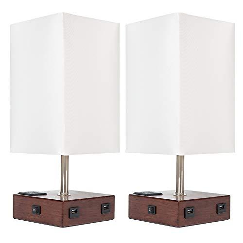 Juego de 2 lámparas de mesita de noche DEEPLITE con puertos de carga USB y salida de CA moderna lámpara de noche para dormitorio, sala de estar, oficina (tela cuadrada base de madera)