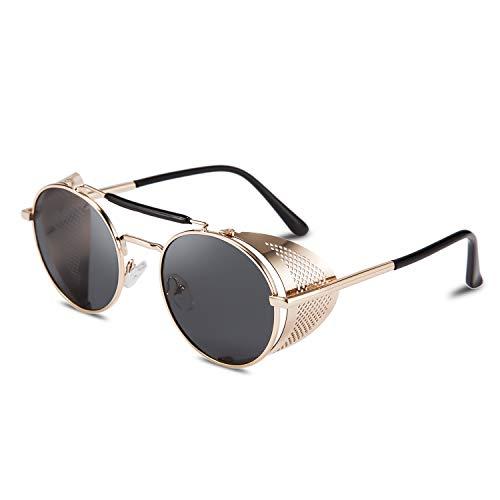 FEISEDY Steampunk Sonnenbrille UV400 Damen Herren Retro Runde Metallbrille Schutz Matel Rahmen B2518