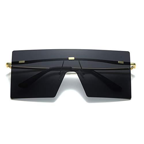 LKEYE LK1719 - Gafas de sol cuadradas de gran tamaño con parte superior plana, elegantes tonos grandes para mujeres y hombres, (C1 Negro/Oro), Large