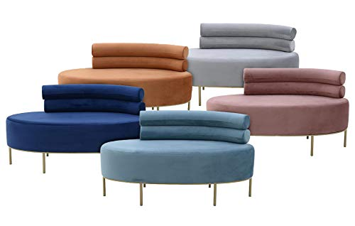 Vintagehaus Retro Lounge Sofa Recamiere 2-Sitzer Velvet (Blau)