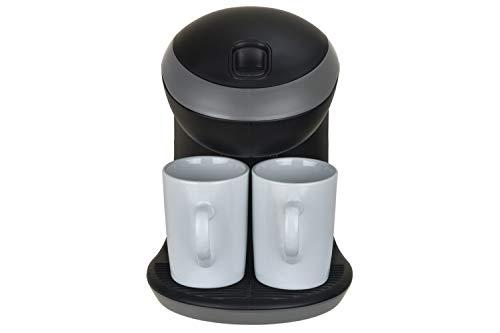 LIVIA Kaffeemaschinen mit 2 Tassen, einfache Zubereitung, Platzsparend, Behälter 0.3 Liter, Schwarz