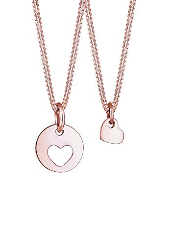 Elli Halskette Damen Cut-Out Herz Mutter Kind Set in 925 Sterling Silber rosé