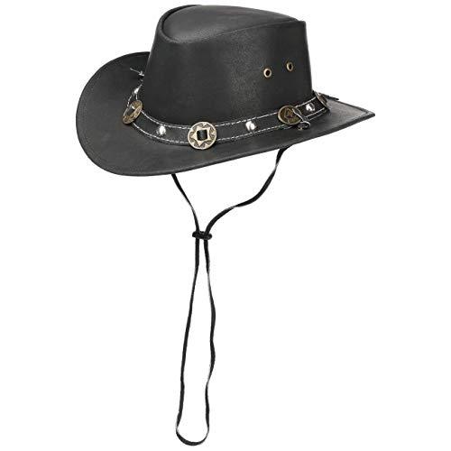 SCIPPIS Concho leren hoed Classic Australië hoed cowboyhoed Westernhoed met kinband