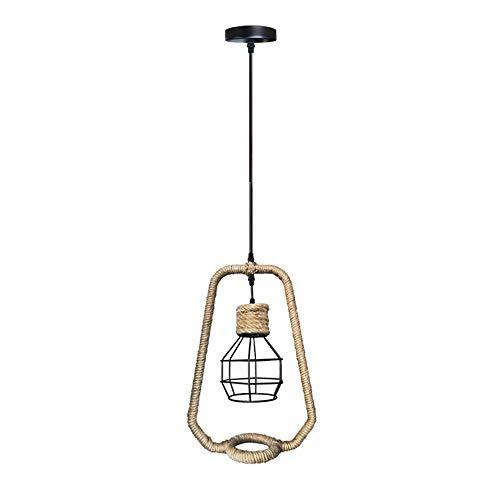 Lámpara colgante vintage con jaula negra, lámpara de techo industrial para pasillo, comedor, restaurante, casquillo E27, diámetro de 29 cm