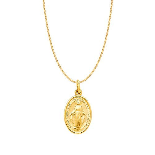 14k Yellow Gold Miraculous Medal Virgin Mary Pendant with 0.8-mm Yellow Gold Square Wheat Chain