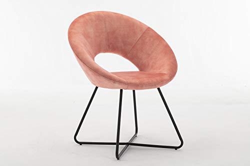 Duhome Silla de Comedor diseño Vintage con Brazos Silla tapizada sillón con Patas de Metallo 439D Vintage, Color:Rosa, Material:Terciopelo Vintage