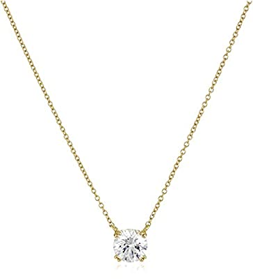 """Yellow Gold Plated Sterling Silver Solitaire Pendant Necklace set with Round Cut Swarovski Zirconia (2 cttw), 18"""""""