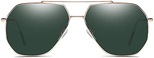 Dpprdl Material clásico Material de Metal Gafas de Sol Marco de Oro Lente Verde Oscuro Gafas de Sol polarizadas para Hombre