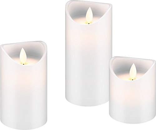 Goobay 3er Set LED Echtwachs-Kerzen, weiß - Set aus 10, 12,5 und 15cm hohen Kerzen