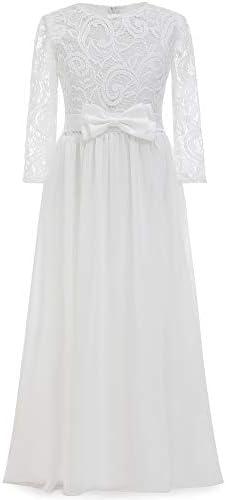 ABAO SISTER Vintage Boho Chiffon A line Flower Girl Dress Ivory Size 4 product image