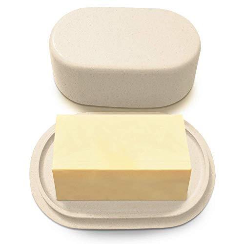 Plato de mantequilla de bambú crema moderno con tapa - Apto para lavavajillas - Perfectamente dimensionado para mantequillas grandes de estilo europeo