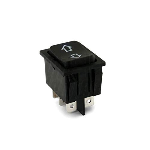 DEVIATORE BIPOLARE A BILANCIERE PER AUTO Cod. 24.5550.00 - Tasto: Nero - Funzione: (ON)-OFF-(ON) - Tipo: DPDT - N. terminali: 6 - Portata: 35A 12VDC - Resistenza di contatto: 50m? max - Rigidità dielettrica: 1 minuto 1500V AC - Temperatura di esercizio: -25°C~+85°C - Tipo terminali: faston 6,3mm - Serigrafia: