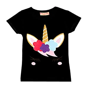 Girls Emoji Print Dabbing Unicorn T-Shirt Tee Top Stars Eyelashes New Age 3-14 Y
