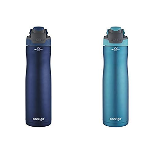 Contigo AUTOSEAL Chill Vacuum-Insulated Stainless Steel Water Bottle, 24 oz, Monaco AND Contigo AUTOSEAL Chill Vacuum-Insulated Stainless Steel Water Bottle, 24 oz, Scuba